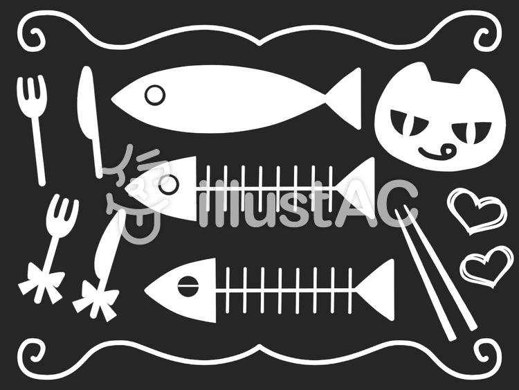 お魚とネコ_02のイラスト