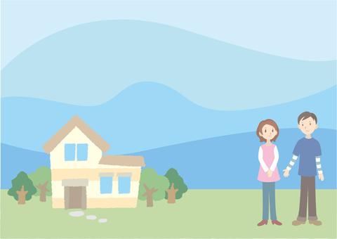 房子,人和藍天