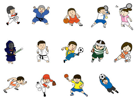 Sports figure illustration set 02
