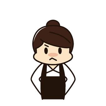 Restaurant Female store clerk Anger