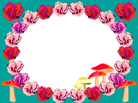 Carnation and mushroom frame