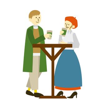 コーヒーを飲みながら話すカップル