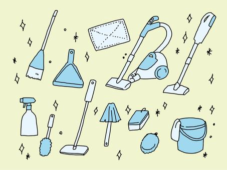 Illustration of cleaning tools