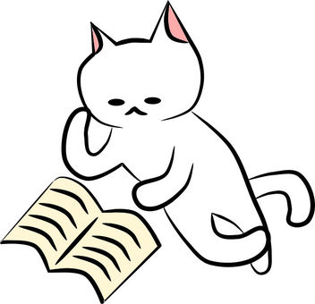 Nyanko lying down and reading