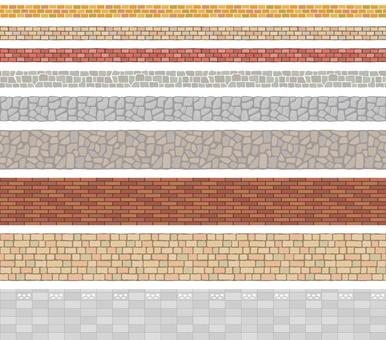 ブロック塀の飾り罫セット