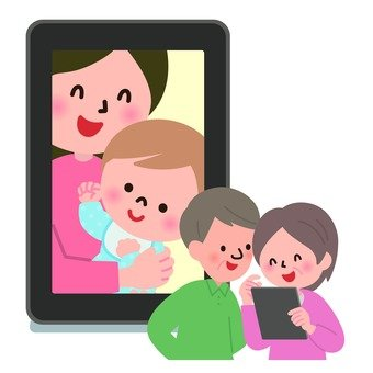 Girls watching grandchildren's photos on a tablet