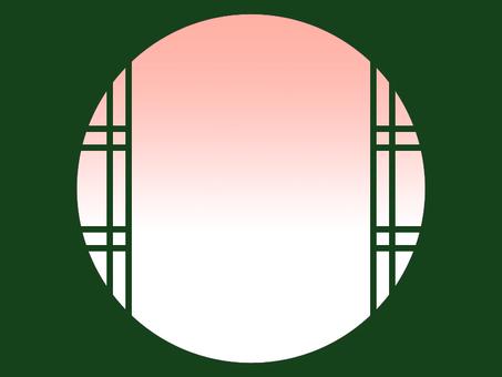 Japanese style round window Evening