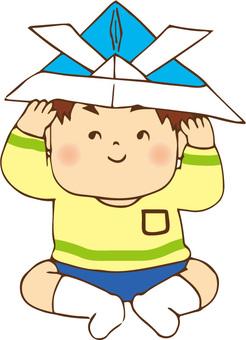 A boy wearing a helmet