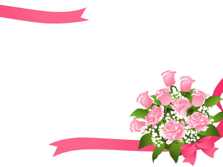 Pink roses bouquet frame