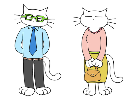 White cat _ parents