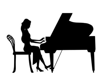 Piano and female (silhouette)