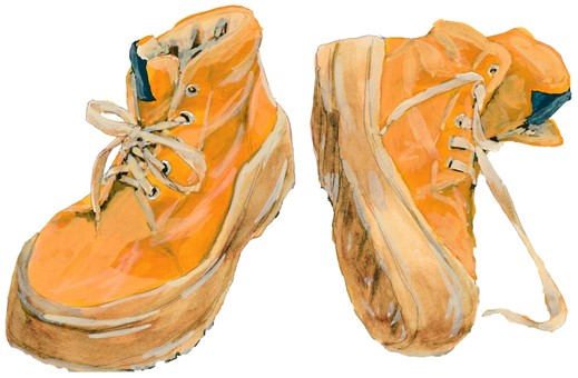 High cut sneakers yellow, hand-drawn realistic