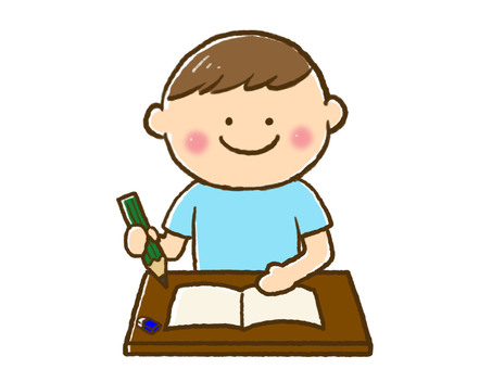 A boy studying