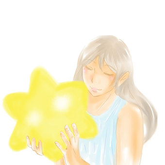 A woman holding a star