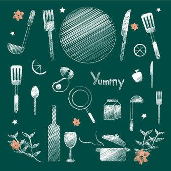 Chalk style kitchen miscellaneous illustration