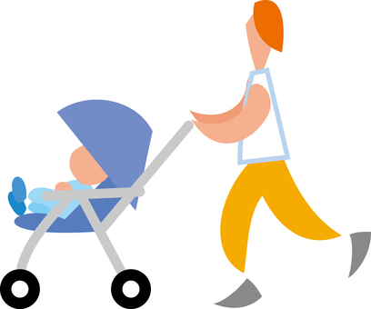 Parent and child going out with a stroller