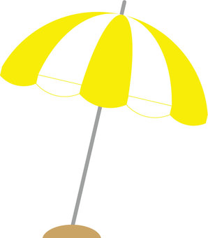 Beach umbrella (yellow × white)
