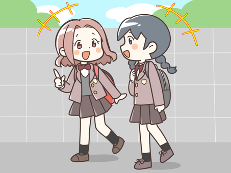 Female students going to school