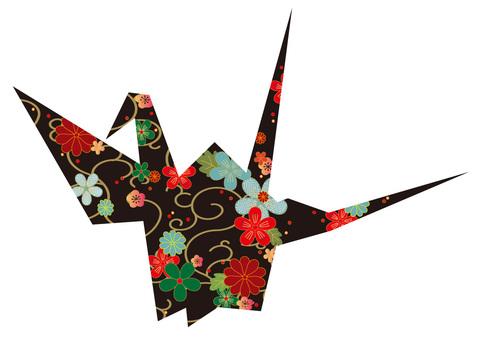 Folded crane Japanese pattern black color