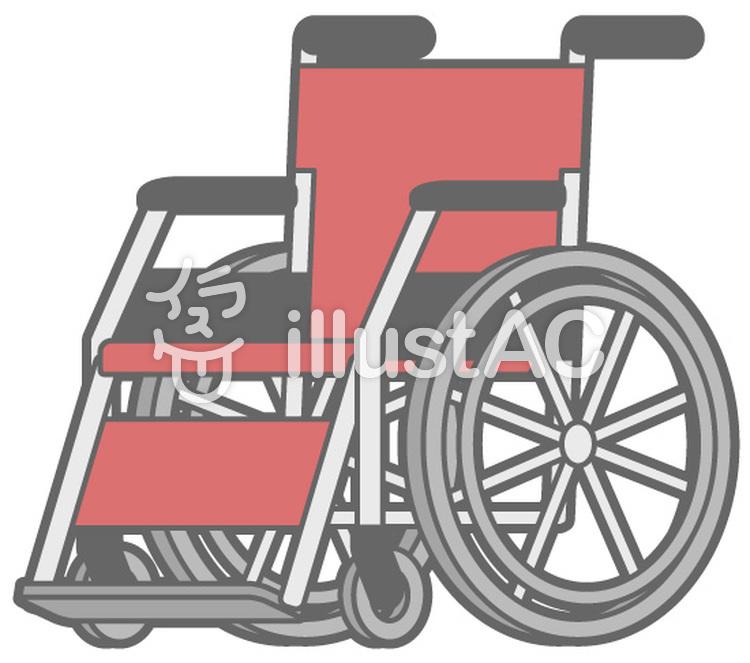 車椅子-赤のイラスト
