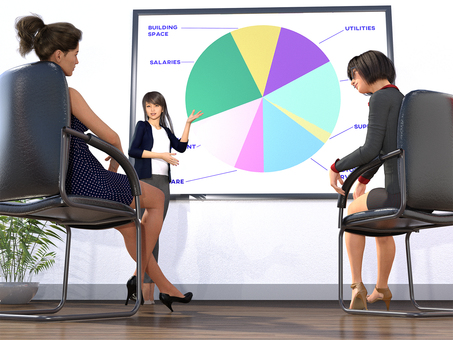 Three women meeting during the meeting