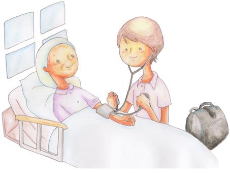 Visiting nurse measuring blood pressure