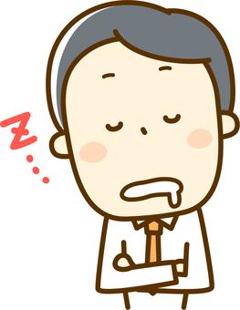 薪水的人睡著了