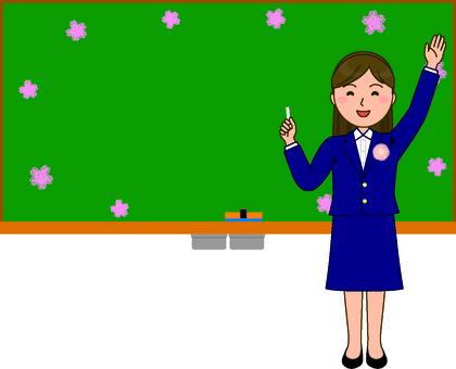 黑板和老师春天