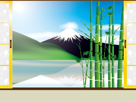 Fuji and bamboo