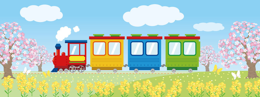 SL locomotive colorful spring illustration