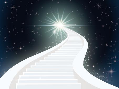 Stairs climbing to the night sky