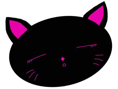Black cat sleeps face