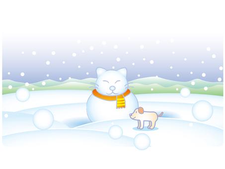 Snow (Cat) A scenery with a Daruma