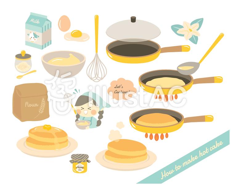 ホットケーキの作り方イラスト No 1317934無料イラストなら