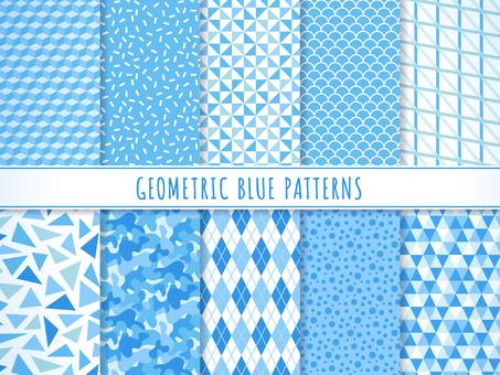 Geometric pattern set (blue)