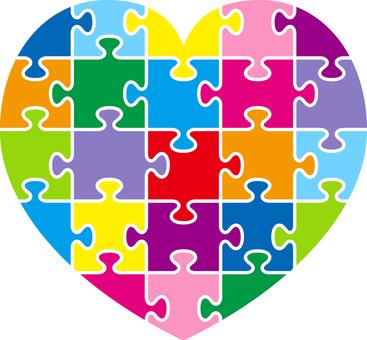 Heart _ jigsaw _ multicolor