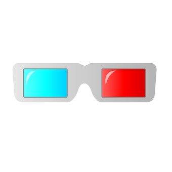 Blue red glasses _ 3 D_ white