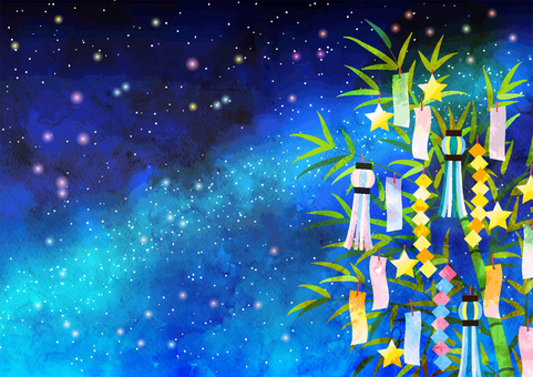 Watercolor style milky way night sky and tanabata background