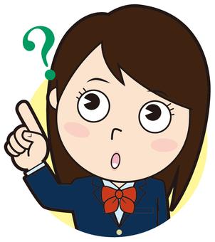 Pointing blazer girls school student (doubt)