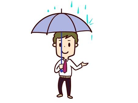 Male umbrella rain