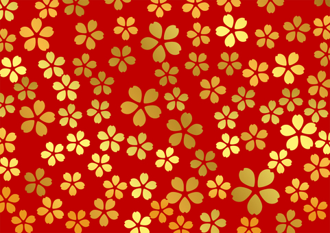 Gold leaf cherry pattern on red background