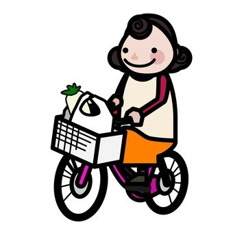 Mother going to shop by bicycle