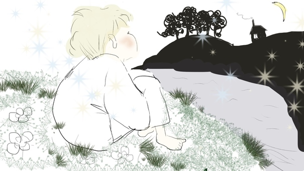 A boy looking up at the moon