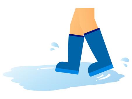 水たまりを歩く