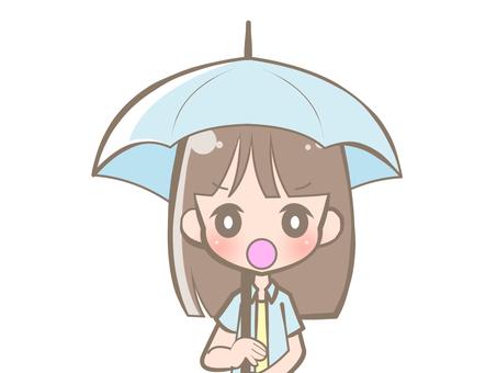 우산을 하복 여성 - 화 190719