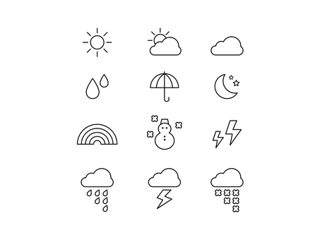 Simple cute weather icon set