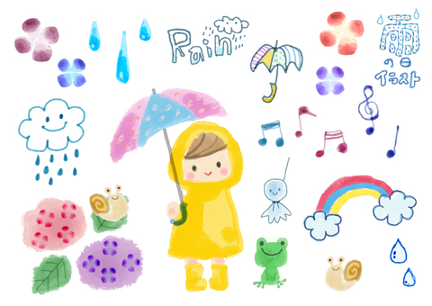 Rainy day illustration set