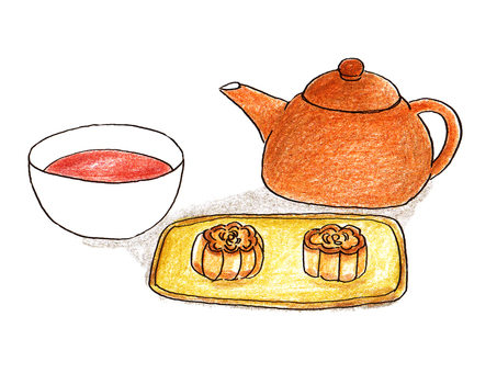 Chinese tea and moon cake