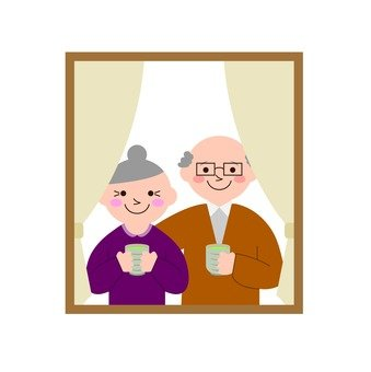 Elderly couple at window
