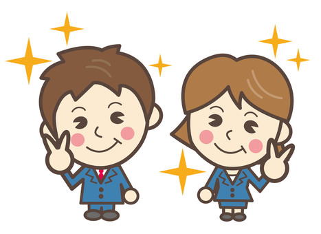New employee illustration businessman of male and female spring